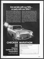 "1968 Checker Marathon Sedan Taxi Cab photo ""Limo Interiors"" vintage print ad"