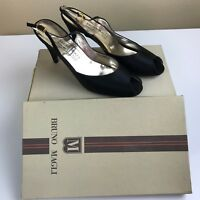 Vintage Bruno Magli Women's Size 7.5 AA Black Satin Peep-Toe Slingback Heels