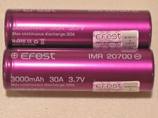 2 New EFEST 20700 3000mAh 20700 Li-on Rechargeable 3.7v 30a High Drain Battery