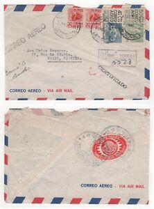 1951 MEXICO Registered Air Mail Part Cover to PARIS FRANCE Pair
