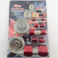 Braided Stainless Hose & Wire Sleeve Cover Kit Inc Red Aluminium Clamp Covers