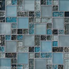 1-SF blue crackle glass mosaic tile Backsplash Kitchen wall bathroom shower sink