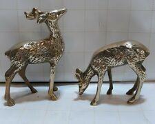 Beautiful Solid Brass Deer Buck & Doe Pair Mid Century Modern Figurines Decor