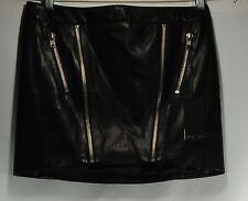 NWT BLACK ORCHID Los Angeles Faux Leather Multi Zip Mini Skirt BLACK SZ 27  $144