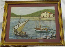 Original Pastel Chalk Nautical Seascape Fishing Boats Harbour Gilt Frame Picture