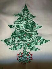 Vintage Table Runner and Four Placemats Christmas Hand Embroidered