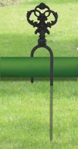 Wrought Iron Yard Stake Garden Hose Guide Ornate Black Outdoor Decor Decorative