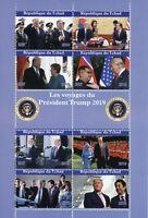 Chad 2019 CTO Donald Trump Queen Elizabeth II Angela Merkel 8v M/S People Stamps
