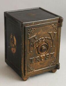 c1885 Henry C Hart Cast Iron Fidelity Trust Safe Miniature Combination Bank NR