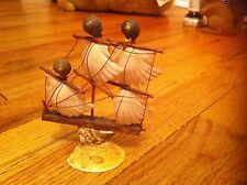 vintage ship figurine made from seashells scallop, conch & clam Sea Shell unique