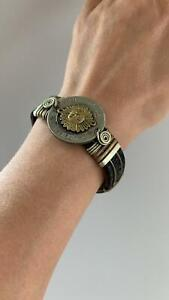 Bote Thick Leather and Brass Peru Coin Cuff, Brown