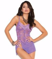 Purple Lingerie Set Small S Women Babydoll Mesh Floral Lace Nightie Panty Sexy