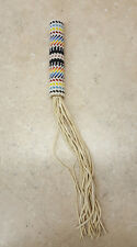 HAND CRAFTED BEADED NATIVE AMERICAN INDIAN BUCKSKIN FRINGED THREADED FAN HANDLE
