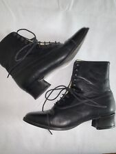 Laura Ashley Antique Vintage Look Lace Up Shoes Leather Booties Victorian Dress