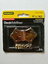 "Nos Stanley 1-11/16"" Ornamental Hinges 80-3470 2 pack Classic Solid Brass"
