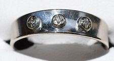 18ct White Gold 3 Diamond stone Ring by Siffari - wedding band