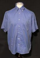 Lacoste Men's Shirt Blue Size 43 XL 100% Cotton Short Sleeve