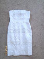 Womens White House Black Market White Strapless Dress 8