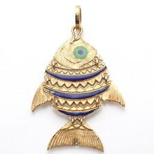 Vintage 18k Yellow Gold Large Fish Enamel Pendant Blue Green Estate