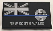 Thin Blue Line, NSW Police Rubber / PVC Patch, State Flag, Hook Rear, TBL