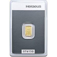 1 G Heraeus Swiss solide fine 999.9 gold bullion bar certifié Scellé