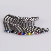 UN3F 20pcs Mix Colors Rhinestone Nose Studs Ring Bone Bar Pin Piercing Jewelry