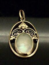 Edwardian Pendant Mother of Pearl Gilt Metal Elegant Simple Beauty Circa1900s