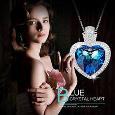 Herzkette Titanic Herz Collier Blau mit Swarovski® Kristallen 18K Weißgold pl