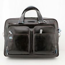 Man Woman Briefcase PIQUADRO BLUE SQUARE brown leather coach bag new CA2849B2 MO
