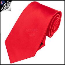 MENS CHERRY RED 8.5CM TIE necktie bright wedding formal solid plain business