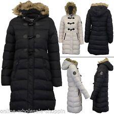 Ladies Brave Soul Toggle Detail Fur Trim Hood Winter Padded Jacket Size 8 14 16