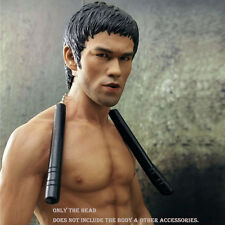 "1/6 Scale Bruce Lee Head Sculpt Headplay For 12"" Hot Toys Enterbay Male Body"