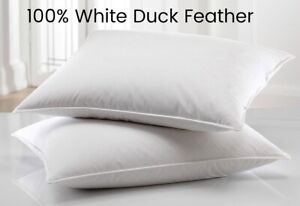 *SUPERIOR HOTEL QUALITY* 100% White Duck Feather *LUXURY PILLOW* Feather Proof