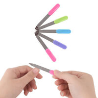 5pcs Plastic Handle Metal Double Sided Nail Files Manicure Pedicure Tool hbTWBB