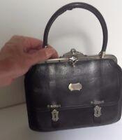 Petit sac en cuir noir ancien pour poupée ancienne