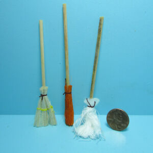 Dollhouse Miniature Set of Brooms and Mop 3 Pcs IM66070