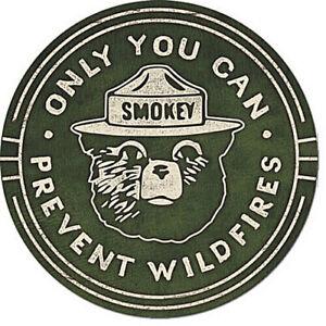 """Smokey Bear Wildfires 12"""" Round Tin Sign Nostalgic Metal Sign Retro Wall Decor"""