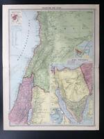 Antique Map Of Palestine Syria Sinai Peninsula Lebanon Damascus Beirut   1926