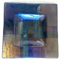 Vintage Square Art Glass Dichroic Fused Glass Tray, Signed - PHD or Ph D