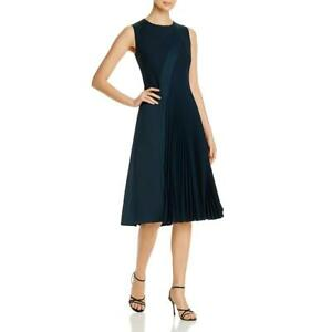 Hugo Boss Womens Dionia Green Pleated Cocktail Fit & Flare Dress 10 BHFO 2679