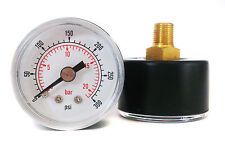 Pressure Gauge 0/300 PSI & 0/20 Bar 40mm Dial 1/8 BSPT Back connection.