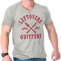 Leftovers Quitter Funny Shirt | Thanksgiving Holiday Turkey V-Neck T Shirt