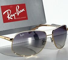 NEW* Ray Ban AVIATOR Gold White 64mm Blue Gradient Sunglass RB 3387 077/7b