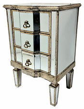 Mirrored Bedside Chest 3 Drawer Venetian Storage Furniture Home Decor Interiors