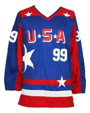 Custom Name # USA  Mighty Ducks Hockey Jersey New Blue Banks Any Size