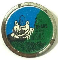 BEARS IN THE BUSHES - Old Original Vintage 70/80`s Metal Pin Badge C.B slang