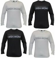 Mens Crosshatch Long Sleeve T shirt Cotton Crew Neck T Shirts Tee Top Regular