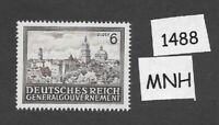 MNH stamp 6 Zloty  / Cracow /  / General Government  Occupied Poland / 1943