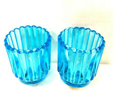 Set of 2 Aqua Blue Glass Ribbed Sconce Votive Candle Holders Vintage Retro