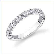 VS1-VS2 .82ct Diamond Wedding Band 18K White Gold. Quality inset Round Brilliant